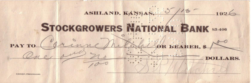 Stockgrowers National Bank check written by S.  P. Mitchell in 1926