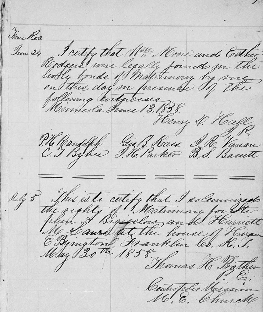 Example of marriage records from Franklin County Kansas