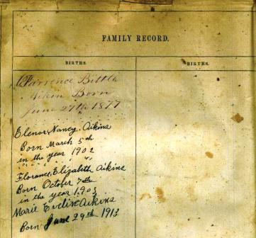 Aikins Family Bible - Birth Records Page 2