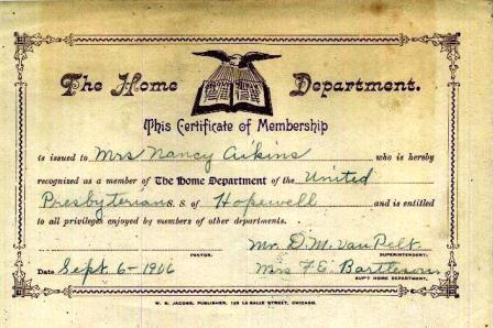 Certificate of Membership in the United Presbyterian Church of Hopewell dated 1906 for Mrs. Nancy AIKINS