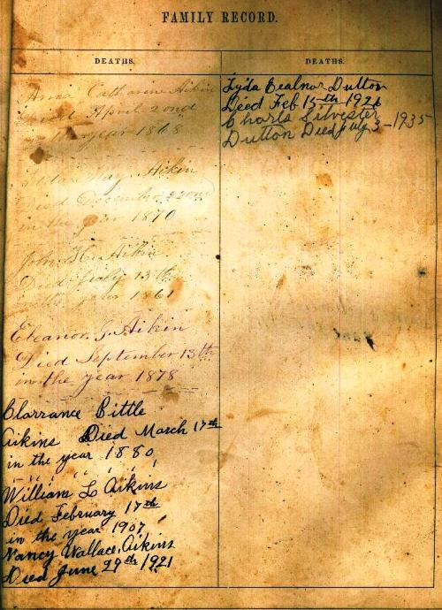 Aikins Family Bible - Death Records